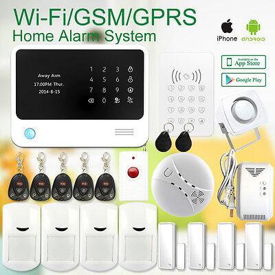 WiFi Alarmanlage Haus Funk GSM Alarmsystem Sicherheit APP+RFID+Fernbedienung Kit