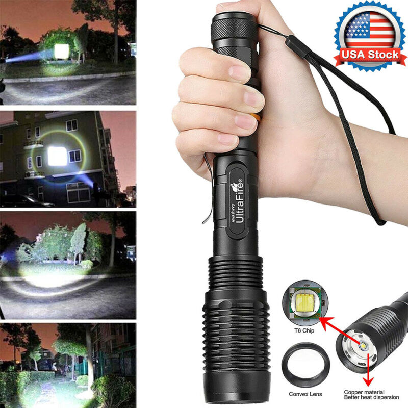 Tactical 350000LM Zoomable Police LED T6 High Power Flashlig