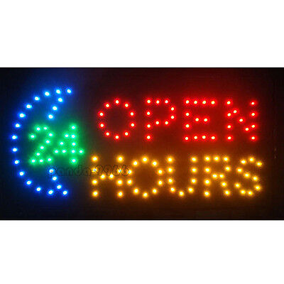 19x10 Flashing Led Neon Business Sign 24 Hours Open Light Bar Club Pub Store