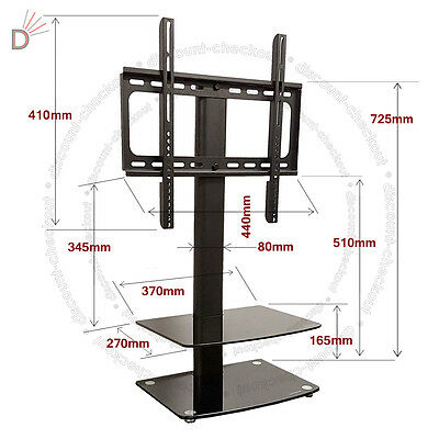 Lcd Table Stand (Universal Table Top TV Stand DVD Bracket Glass Pedestal LCD LED VESA Mount UKDC)