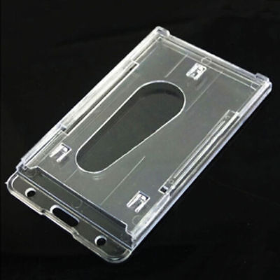 Clear Vertical Hard Plastic Id Badge Holder Double Entrance Card Covers 10x6cm