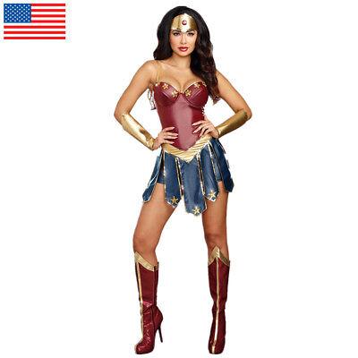 Wonder Woman Cosplay Costumes Adult Dawn Justice Superhero Dress Princess Diana