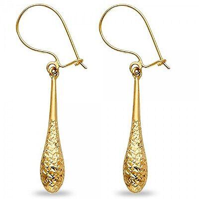 Solid 14K Yellow Gold Teardrop Dangle Earrings Diamond Cut Hollow Fashion