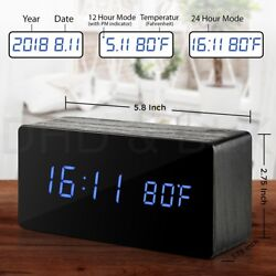 Wooden Alarm Clock Mirror Screen Digital Adjustable LED Display Time Date