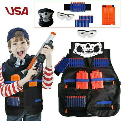 For Boys ALL-IN-1 NERF TACTICAL VEST Kit Game Gun Strike Foam Darts Mask Glasses