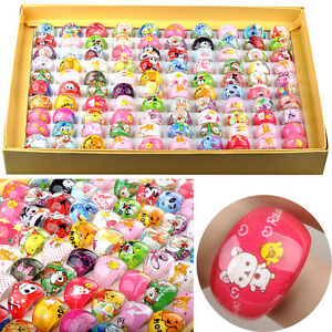 50Pcs Wholesale Mixed Lots Cute Cartoon Children/Kids Resin Lucite Rings Jewelry