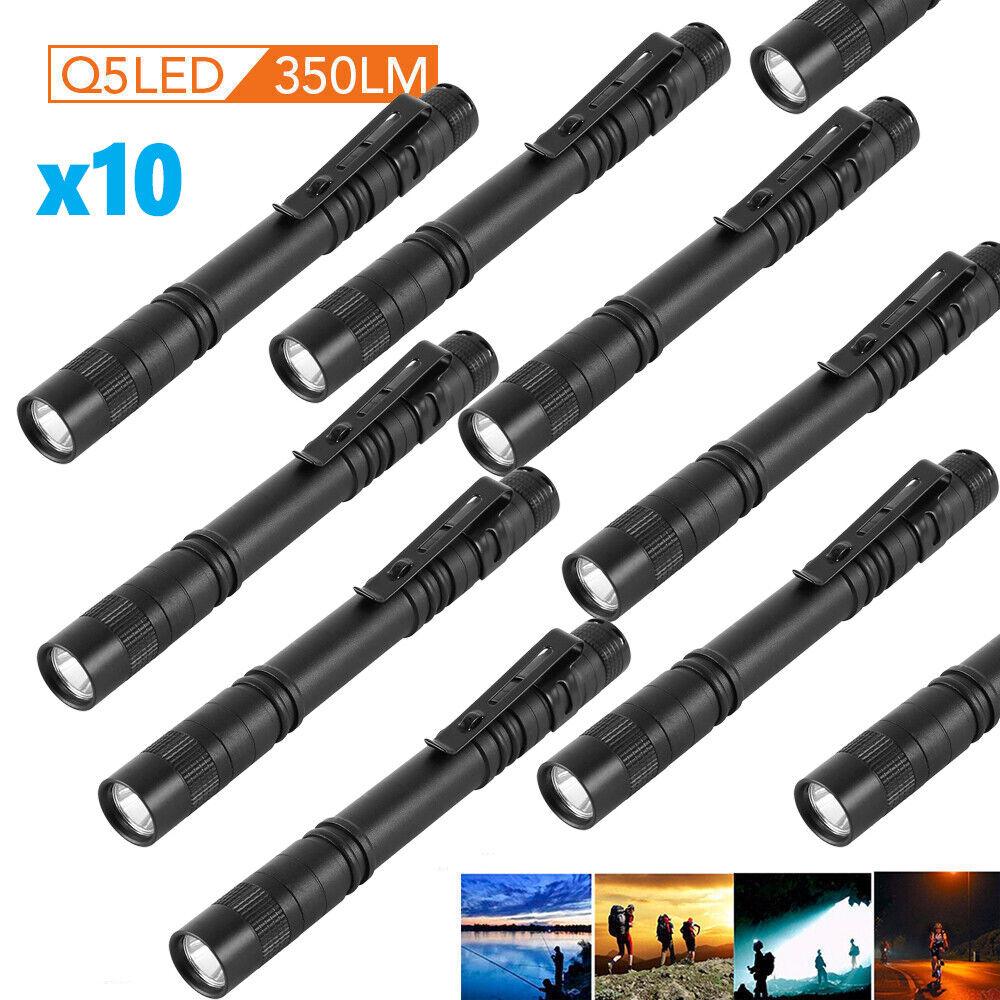 10PC Cree XPE-R3 LED Flashlight Clip Mini Light Penlight Portable Pen Torch Lamp Camping & Hiking