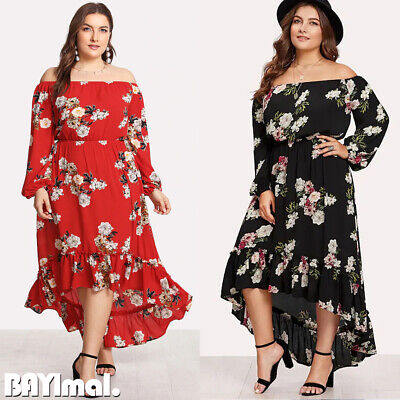Plus Size Womens Ruffle Off Shoulder Maxi Dress Ladies Casual Floral Swing Dress