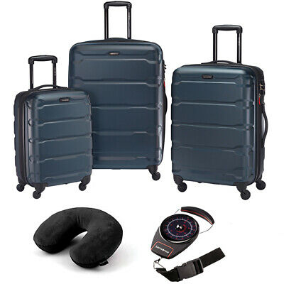 Samsonite Omni Hardside Luggage Nested Spinner Set of 3 Teal with Travel Kit