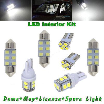 - 8x White LED For Car Dome Map License Plate Light Bulb Interior LED Package Kit