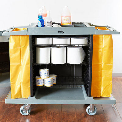 4 Shelf Housekeeping Cleaning Mop Linen Utilty Cart Hotel Janitor Commercial