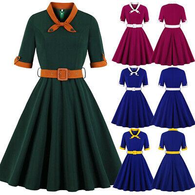 Women's Vintage 1940s 50s Rockabilly Style Evening Party Swing Classy Tea Dress