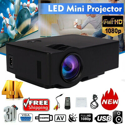Full HD 1080P LED 3D LCD VGA HDMI TV 2000 Lumen Home Theater Projector Cinema HT