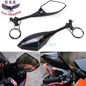 Motorcycle LED Turn Signal Side Mirror For Honda CBR600 03-13 Suzuki GSXR600 750