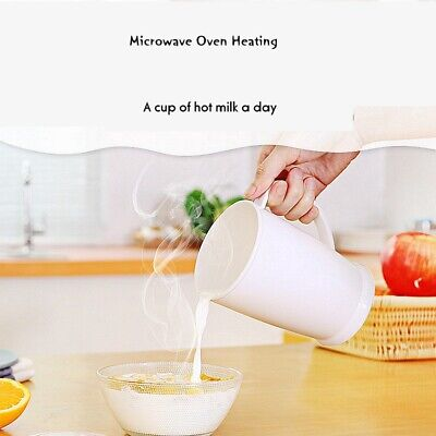 - Plastic Cup with Lid for Microwave Oven Heating Milk Cereal Coffee 600ML Mug