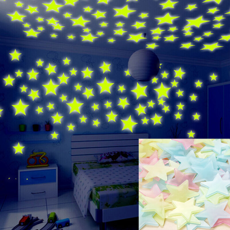 Home Decoration - 100 pcs 3D Wall Glow In The Dark Stars Stickers Kids Bedroom Nursery Room Decor