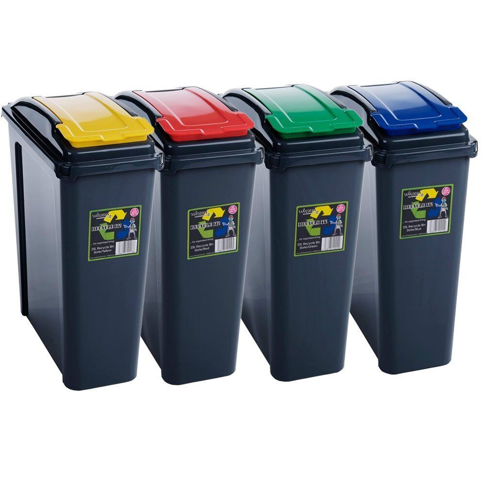 25l recycle bin red green blue yellow lid home office restaurant hotel school ebay. Black Bedroom Furniture Sets. Home Design Ideas