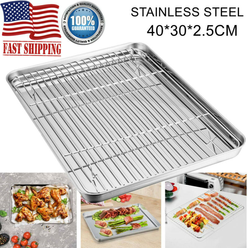 Stainless Steel Cookie Sheet Pan & Rack Set Baking Oven Tray