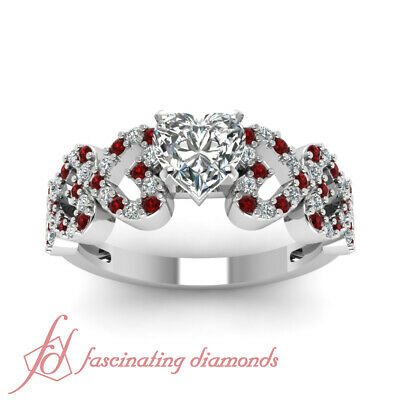 1 Ct GIA Certified Heart Shape Diamond & Round Red Ruby Pave Set Engagement Ring 1