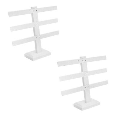 2 Pcs Display White Faux Leather 3 Bars Earring Jewelry Display Stand 10 X 9