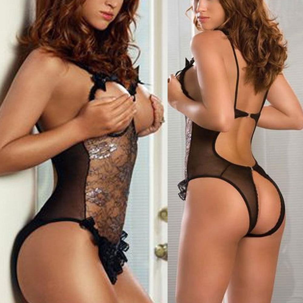 Women's Sexy Lace Halter Teddy Lingerie Bodysuit Teddies Babydoll ...