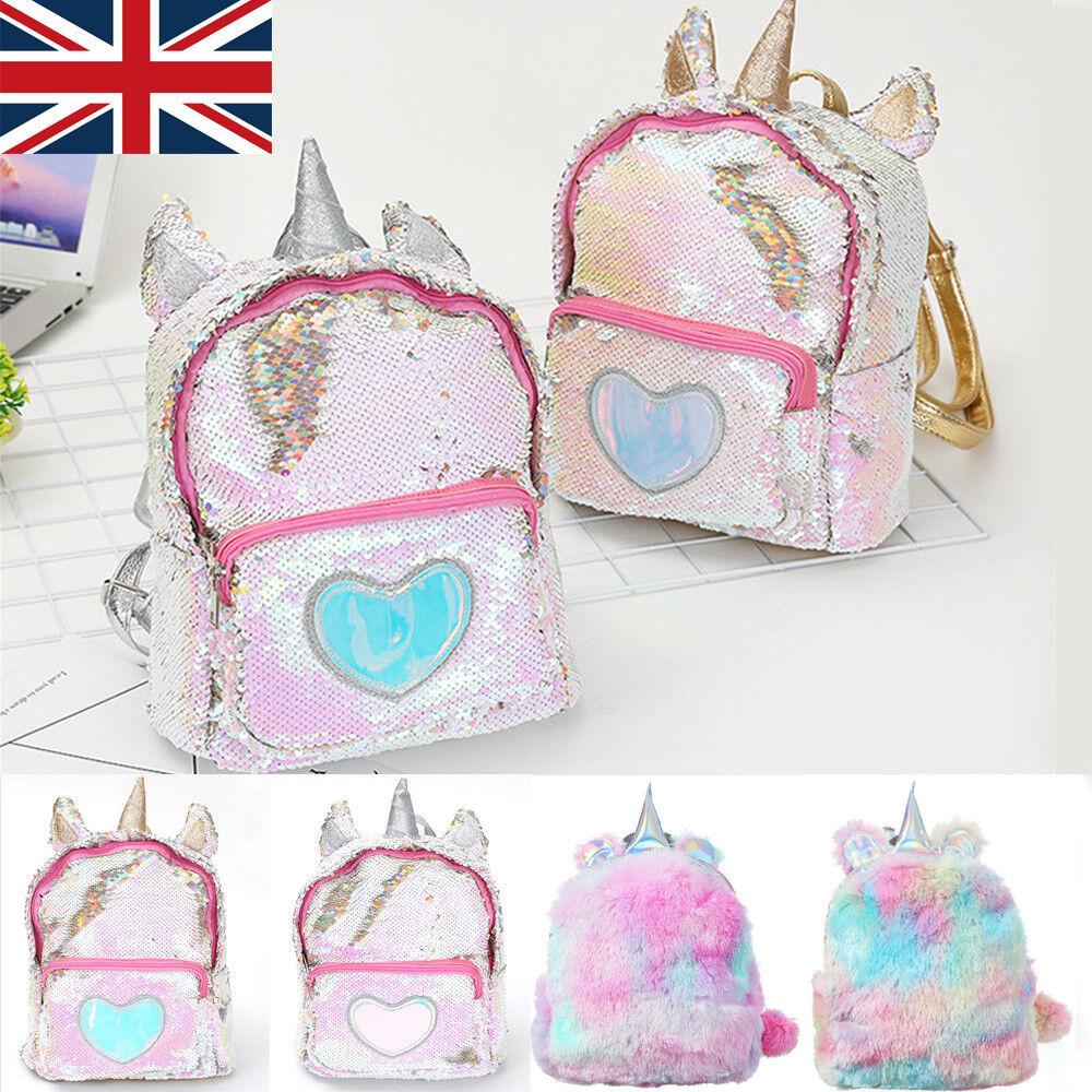 UK Girls Womens Christmas Gift Unicorn Sequin Fluffy Backpack School Bag  Handbag e3e1f2677e978