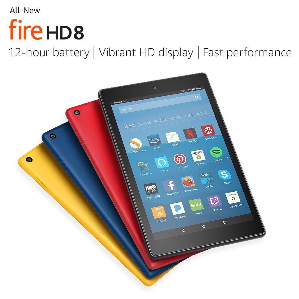 """All-New Amazon Fire HD 8 Tablet w/ Alexa 8"""" Display 16 32 GB 7th Generation 2017"""