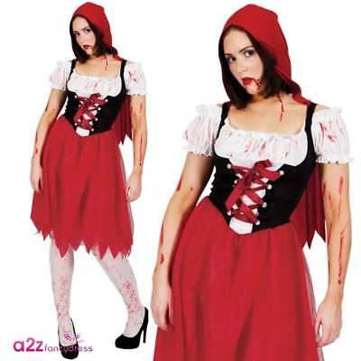 Ladies Little Dead Red Riding Hood Outfit Adult Halloween Storybook Fancy - Little Dead Riding Hood Kostüm