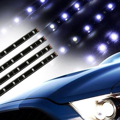 White 4pcs 30CM/15 LED Car Motors Truck Flexible Strip Light Waterproof 12V