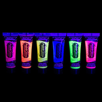 Paint Glow 10ml/.34oz UV Blacklight Face and Body Glitter Gel- FAST USA - Uv Face And Body Paint