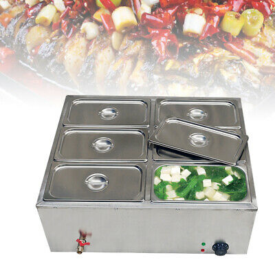 110v 850w 6-pan Steamer Bain-marie Buffet Countertop Food Warmer Steam Table Usa
