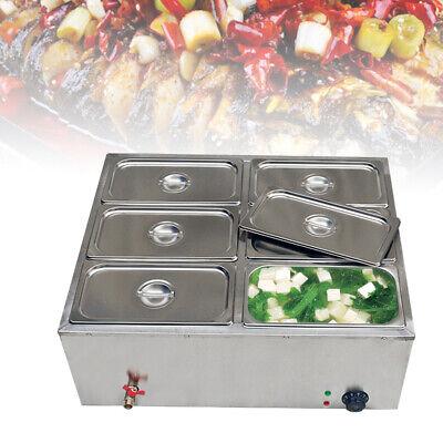 850w Electric Food Warmer Countertop Steamer Bain-marie Buffet 6 Pots Lids Top