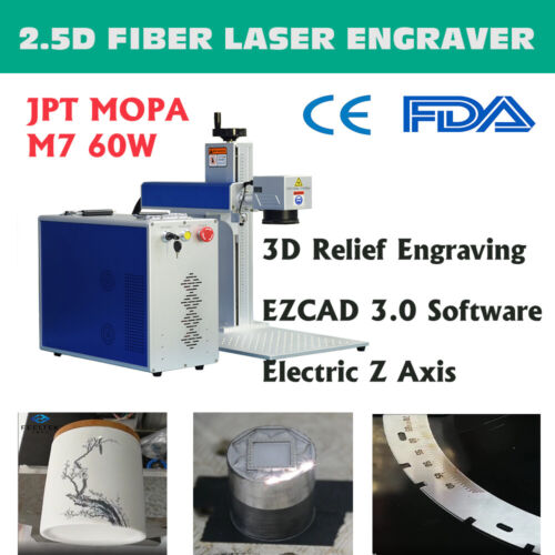 2.5D JPT MOPA M7 60W Fiber Laser Marking Machine for 3D Metal Relief Engraving