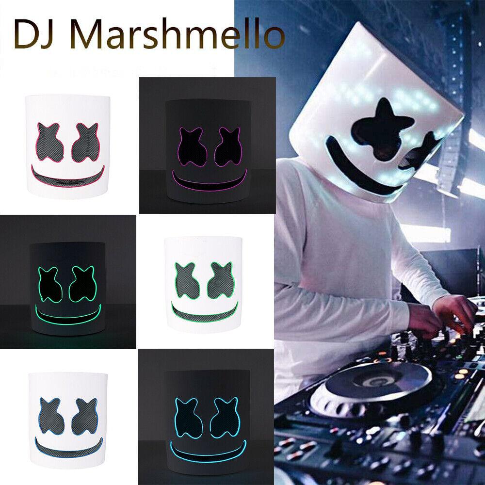 DJ-MarshMello LED Mask Helmet Costume Rave Cosplay Bar Music