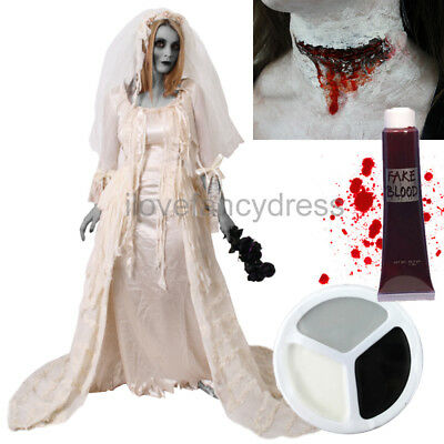 CUT THROAT ZOMBIE BRIDE COSTUME HALLOWEEN FANCY DRESS FACE PAINT FAKE BLOOD - Halloween Face Paint Zombie Bride