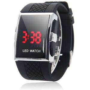 New Men Stylish LED Luxury Digital Date Sports Wrist Watch Black