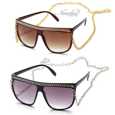 Black Snooki Sunglasses Long Chain Women GaGa Glasses Jersey Shore Celebrity (Snooki Shades)