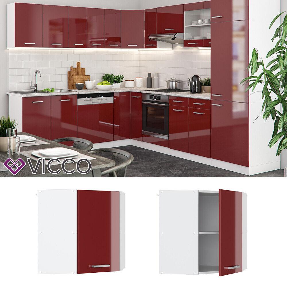 VICCO Küchenschrank Hängeschrank Unterschrank Küchenzeile R-Line Eckhängeschrank 57 cm bordeaux
