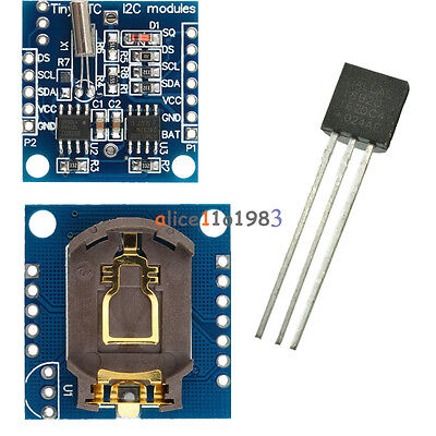Arduino I2c Rtc Ds1307 At24c32 Real Time Clock Moduleds18b20 Temperature Sensor