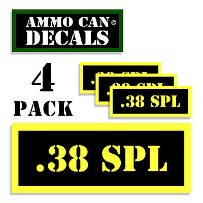 """38 SPECIAL Ammo Can DECALS  2 PACK  5/""""x3inch Oval 38 SPL Gun Vinyl Stickers"""