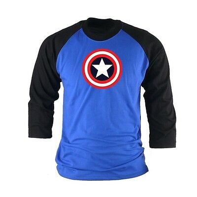 XL BB Superhero Captain America shield 3/4 sleeve Baseball Raglan tshirts Top