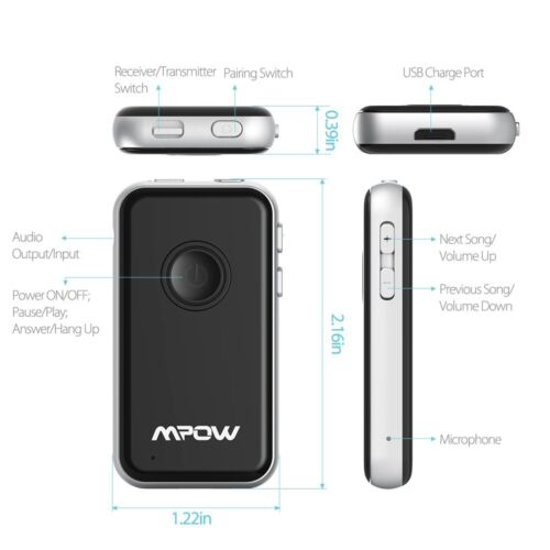 mpow 3 5 mm wireless bluetooth aux in adapter dongle musik. Black Bedroom Furniture Sets. Home Design Ideas