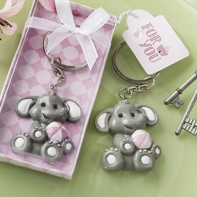 Pink Baby Elephant Baby Shower (20 Adorable Pink Baby Girl Elephant Keychain Baby Shower Party)