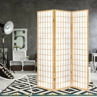 3 Panels Room Divider White/Black/Natual Colors