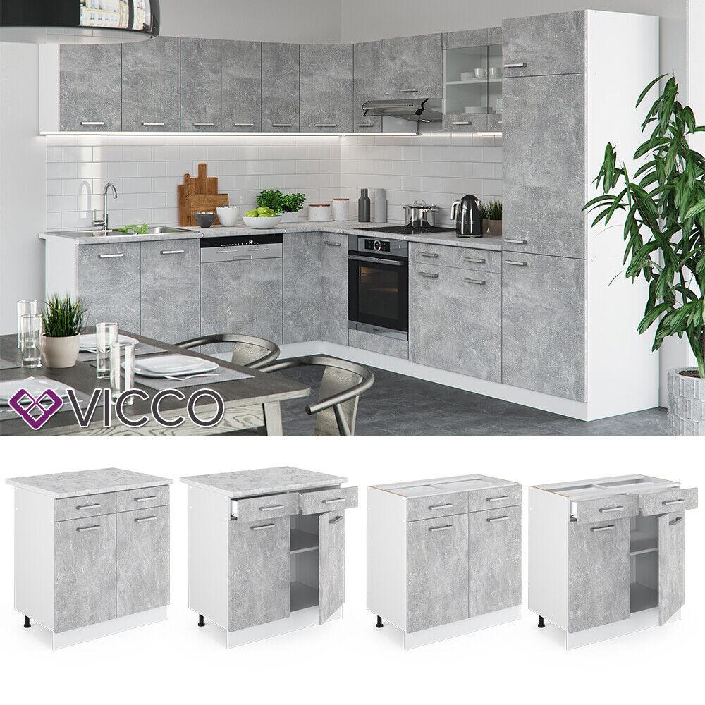 VICCO Küchenschrank Hängeschrank Unterschrank Küchenzeile R-Line Schubunterschrank 80 cm beton