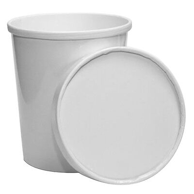 White Quart Paper Frozen Dessert Containers With Lids, To Go Food - Paper Containers