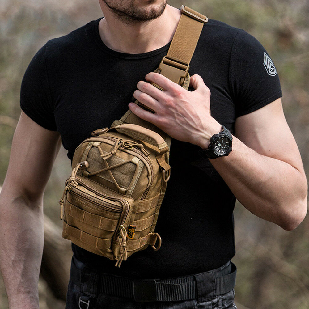 Mens Tactical Military Crossbody Shoulder Bag Chest Pack Cam