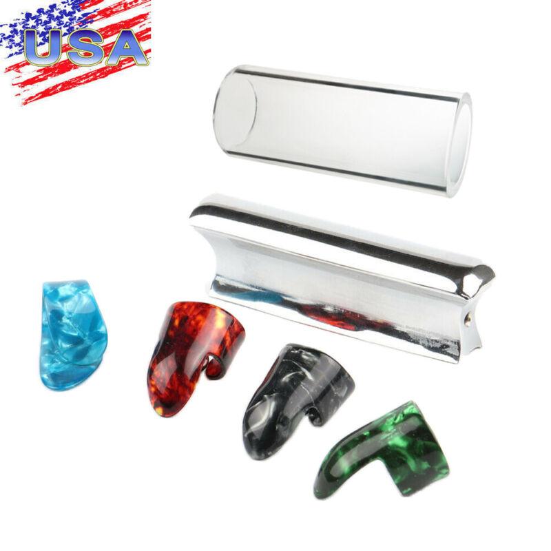 Lap & Pedal Steel Guitar Slide Steel Tone Bar Glass Slider & Guitar Finger Picks