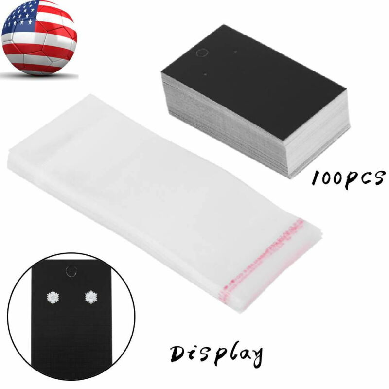 bulk 100 Black Paper Jewelry Earring Display Hanging Cards w/Self Adhesive Bags