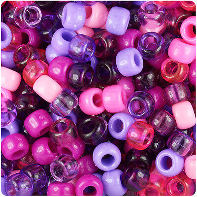 - 500 Wild Berry Mix 9x6mm Barrel Pony Beads Made inthe USA by The Beadery